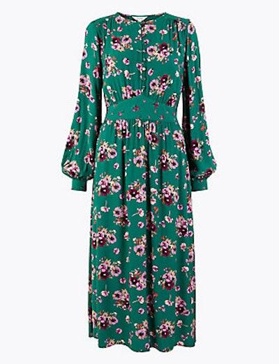 Floral Waisted Midi Dress