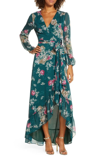 The Meryl Floral Long Sleeve Wrap Gown