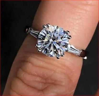 Round Cut Moissanite Diamond Solitaire Engagement Ring