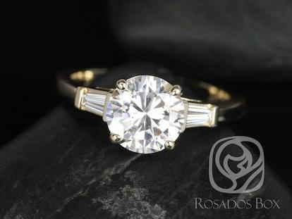 Round Forever One Moissanite Diamond Baguette 3 Stone Engagement Ring