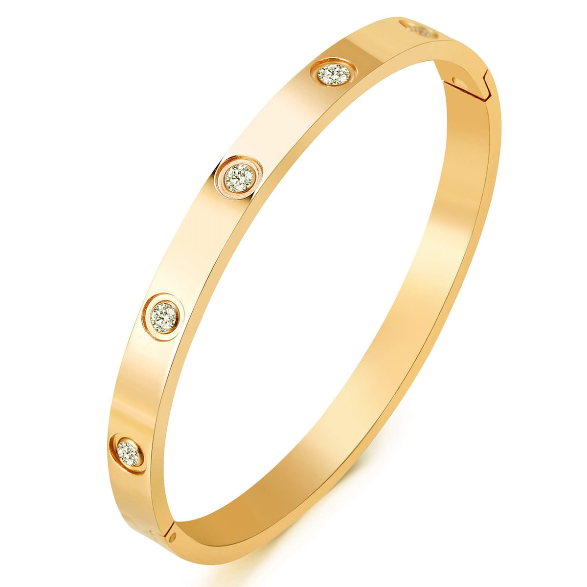 MVCOLEDY 18K-Gold Plated Cubic Zirconia Bangle