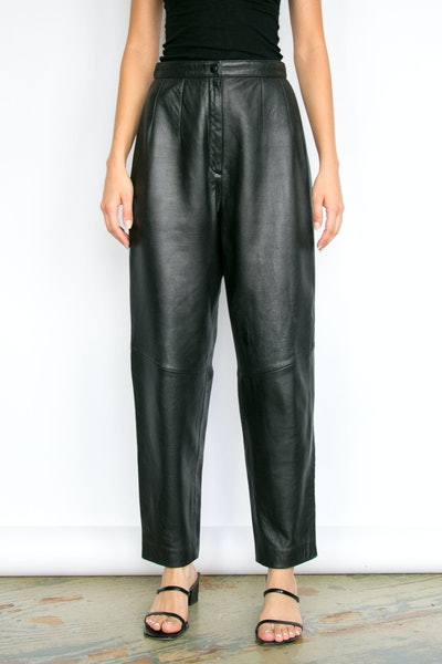 Vintage Black Lambskin High-Rise Leather Pants