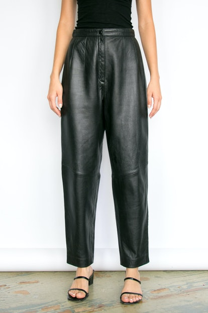 Vintage Black Lambskin High-Rise Leather Pants
