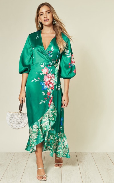 Wrap Front Long Midi Dress In Green Floral Print