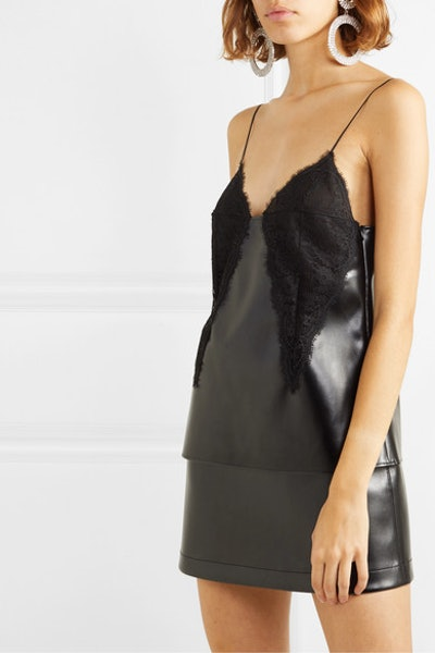 Lace-Paneled Faux Leather Camisole