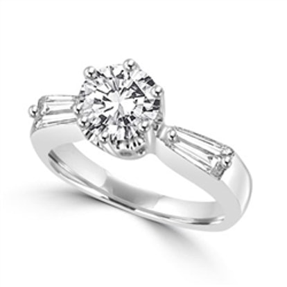Diamond Essence Ring with Round Brilliant Stone and Tapering Baguettes