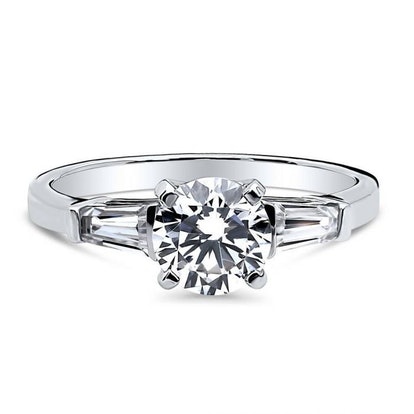Sterling Silver Round Cubic Zirconia 3-Stone Ring