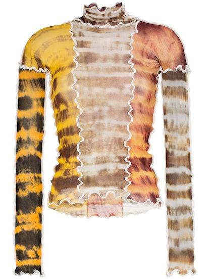 Sheer Tie-Dye Stretch Top
