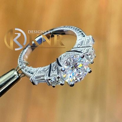White Gold Round Cut Simulated Diamond Ring