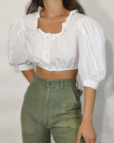Vintage White Puff-Sleeve Crop Top