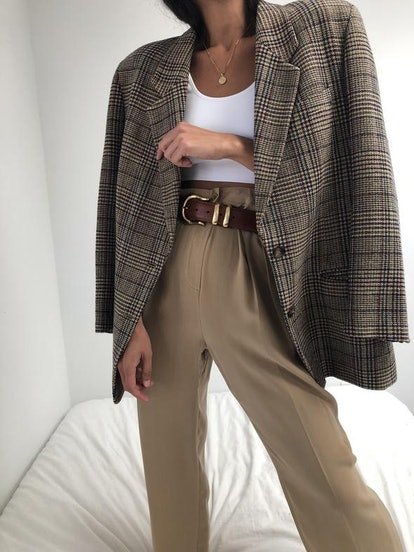 Vintage Wool Plaid Blazer