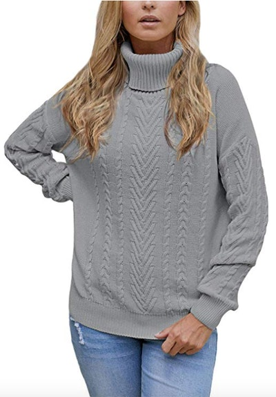 Pink Queen Ribbed Cable-Knit Turtleneck Sweater