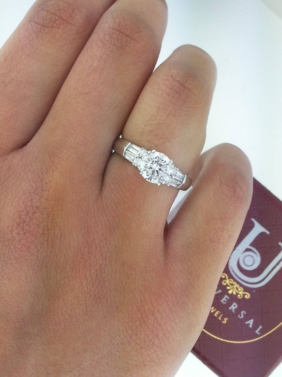 14K Solid White Gold Cubic Zirconia Engagement Ring