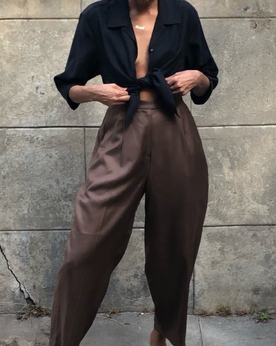 Vintage Silk Cocoa Pleated Trousers