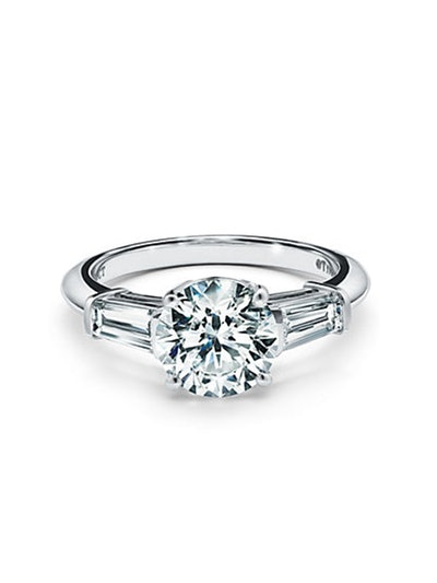 Three Stone Engagement Ring with Baguette Side Stones