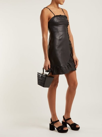 Ruffle-Trimmed Leather Mini Dress