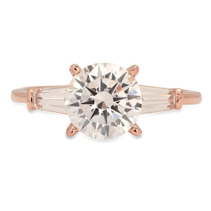 Moissanite & Simulated Diamond Round Baguette Cut Band
