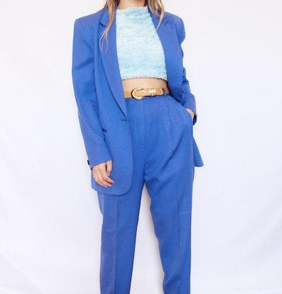 Vintage Royal Blue Three-Piece Wool Suit
