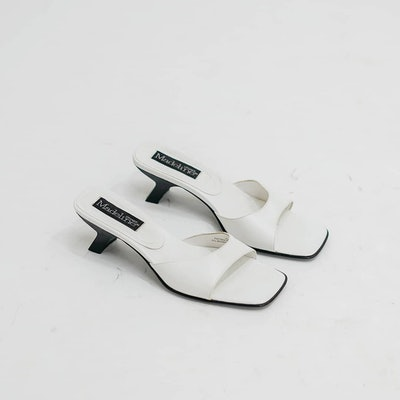 Vintage White Heeled Mules