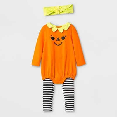 Baby Girls' Halloween 3pc Pumpkin Top and Bottom Set