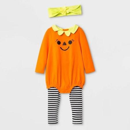 Baby Girls' Halloween 3pc Pumpkin Top and Bottom Set