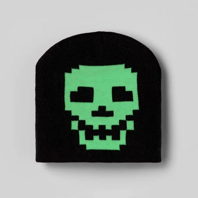 Kids' Glow In The Dark Skull Beanie Hat