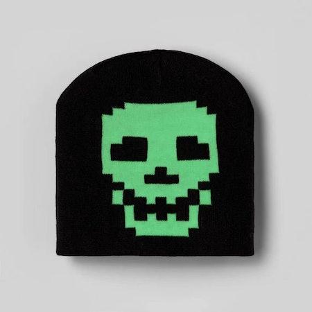 Kids' Glow In The Dark Skull Beanie Hat