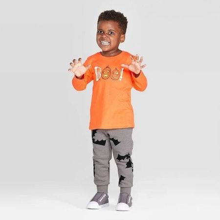 Toddler Boys' Boo Long Sleeve T-Shirt and Fleece Jogger Set