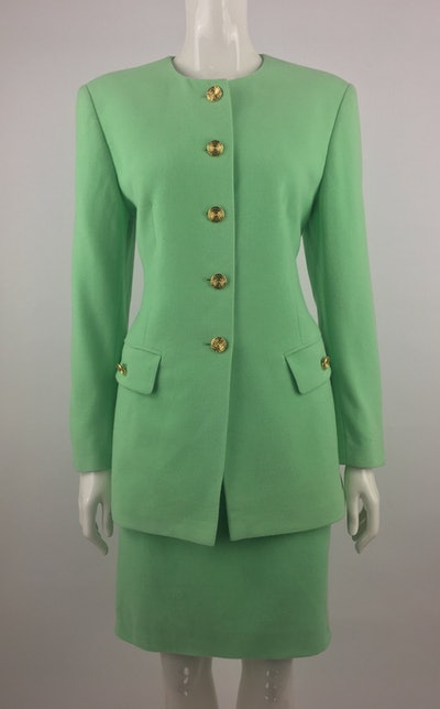 Vintage Escada Lime Green Skirt Suit