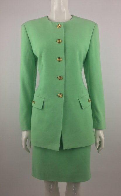 Vintage Escada Lime Green Skirt Suit