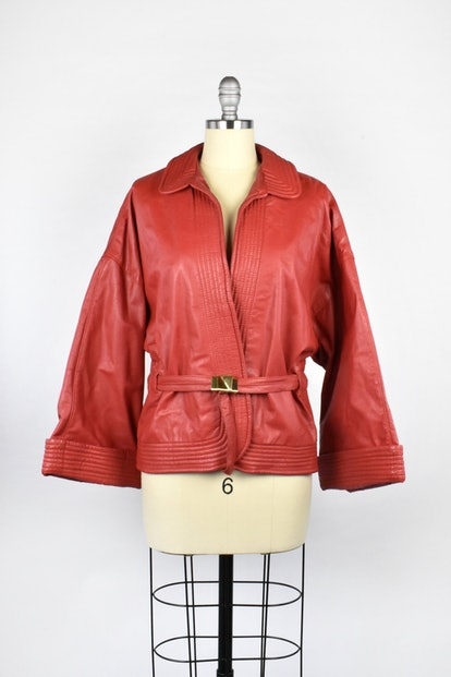 Cherry Red Leather Jacket