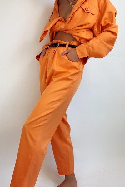 Vintage Silk-Cotton Blend Pant Suit