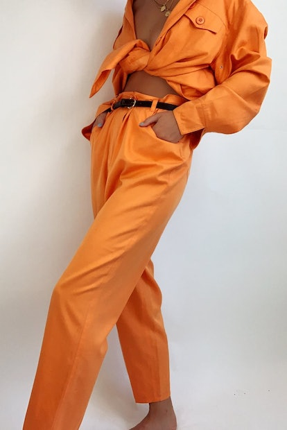 Vintage Silk-Cotton Blend Pant Suit