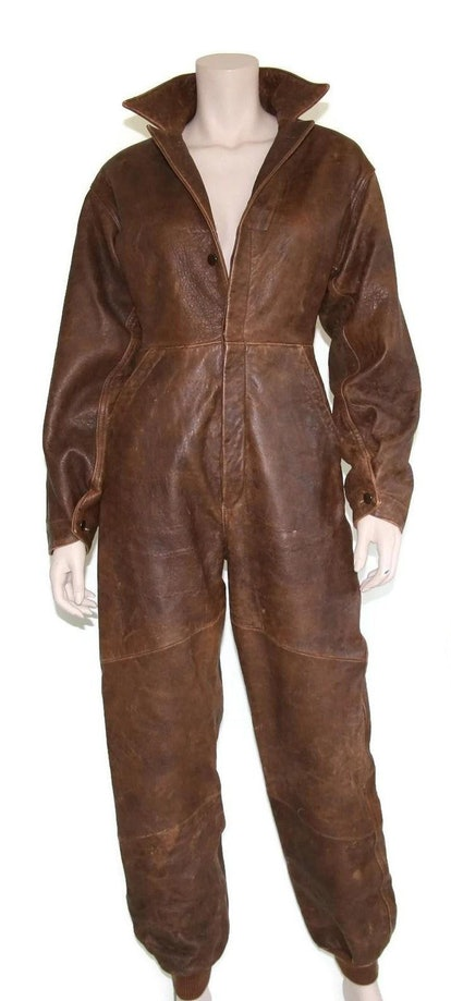 Vintage Distressed Leather Jumpsuit