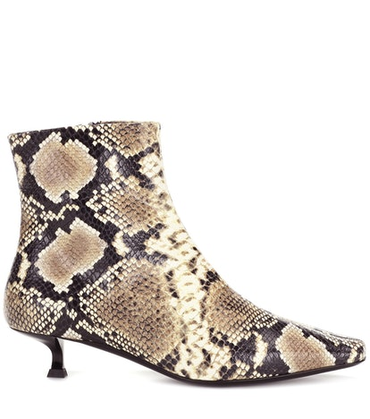 Laura Snake-Effect Leather Ankle Boots