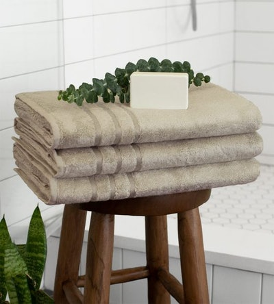 Bamboo Bath Towels in Stone