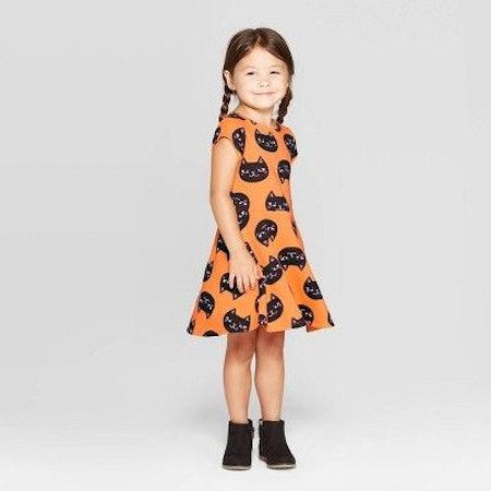 Toddler Girls' 'Cat' Halloween Dress