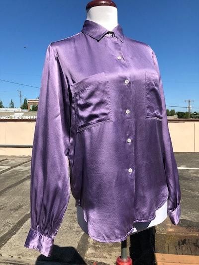Vintage Lavender Silk Blouse