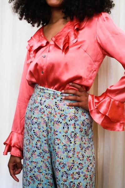 Vintage Pink Silk Ruffled Blouse