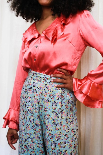 Vintage Pink Silk Ruffled Blouse
