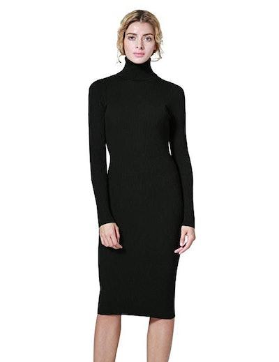 ninovino Ribbed Knit Turtleneck Sweater Dress