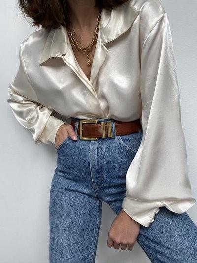 Vintage Pearl Button-Up Blouse