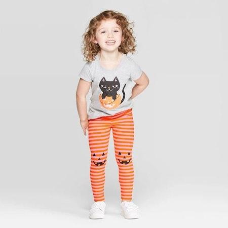 Toddler Girls' Striped Jack-o-Lantern Leggings