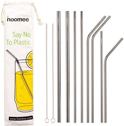 HOOMEE Reusable Stainless Steel Straws (Set of 8)