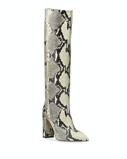 Snake-Embossed Leather Knee Boots