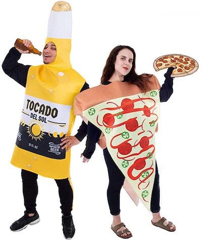 Pizza Slice and Beer Bottle Couples Halloween Costume