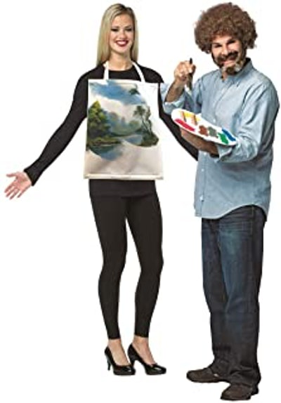 Bob Ross and Painted Canvas Couples Costume