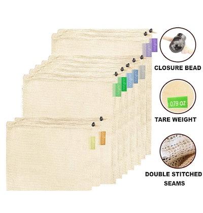 purifyou Reusable Cotton Mesh Produce Bags (9-Pack)
