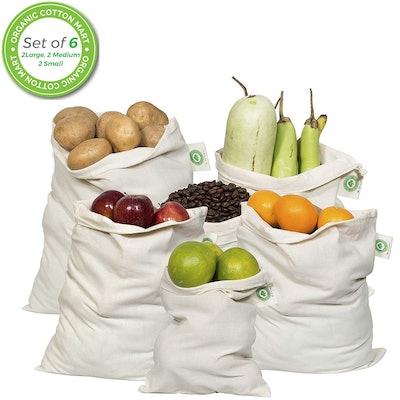 Organic Cotton Mart Cotton Reusable Produce Bags (6-Pack)