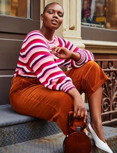 Striped Puff Sleeve Sweater
